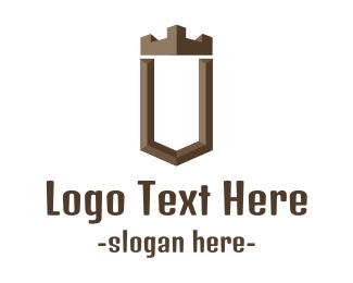 Woodwork - Brown U Castle logo design
