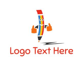 Writer - Happy Pencil logo design