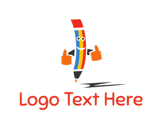 Thumbs Up - Happy Pencil logo design