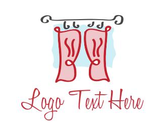 Curtain - Red Curtains logo design