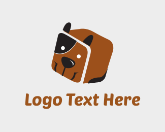 Illustrate - Dog Box Cube logo design
