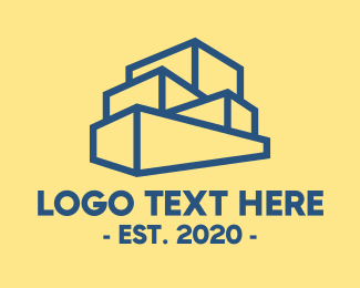 Land - Blue Stacked Box Outline logo design