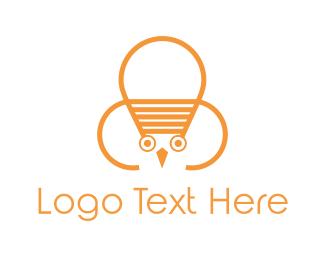 Teacher - Owl Lamp logo design