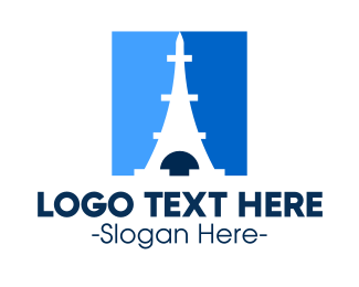 Destination - Blue Parisian Tower logo design