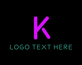 Broadway - Purple Neon Letter K logo design