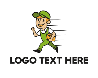 Courier Service - Delivery Man Cartoon logo design