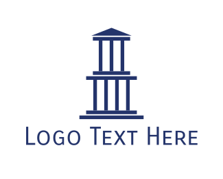 Column - Blue Greek Building logo design