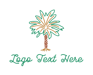 Coconut Tree - Desert Palm Tree logo design