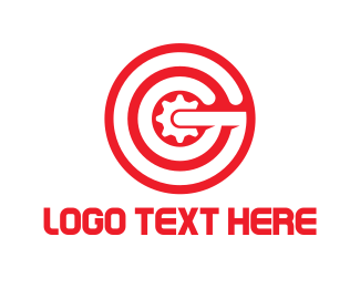 Stamp - Red Gear Letter G logo design