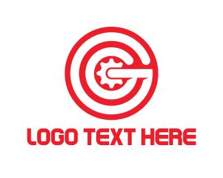 Cogwheel - Red Gear Letter G logo design