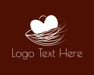 Nest - Heart Nest  logo design