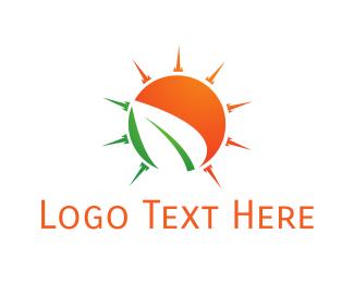 Sunset - Sun Leaf logo design