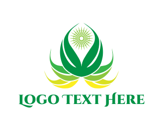Wellness - Green Lotus logo design