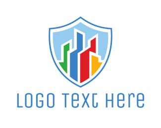 Paint - Colorful City Shield logo design