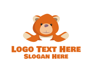 Stuffed Animal - Orange Teddy logo design