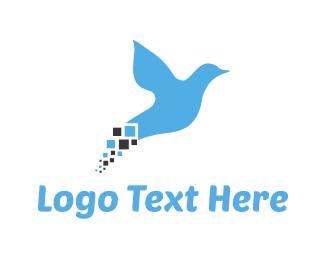 Kingfisher - Pixel Bird logo design