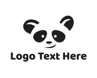 China - Black Panda Face logo design