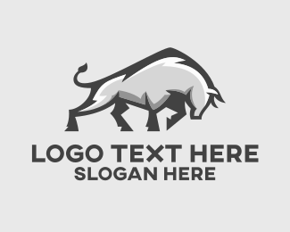 Oxen - Steel Chrome Bull logo design