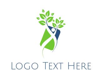 Leafy - Human Plant logo design