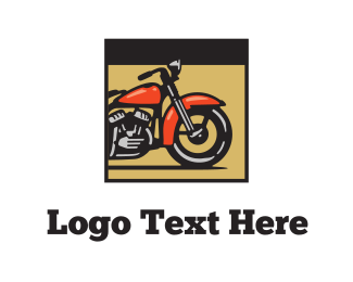 Cycle - Red Motorcycle logo design