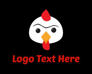 White - White Chicken Cartoon logo design