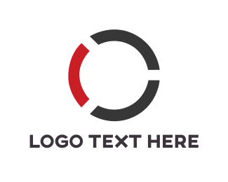 Tech - Black & Red Circle logo design