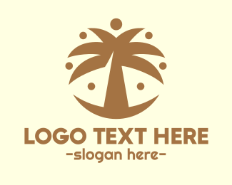 Primitive - Round Palm Tree logo design