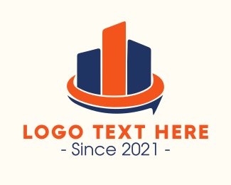 Village - Blue & Orange Buildings logo design