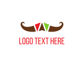 Western - Colorful Mustache logo design