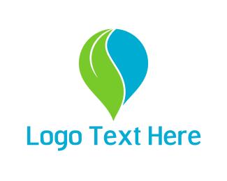 Laundry - Leaf Drop logo design