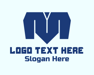 Shirt - Blue Letter M logo design
