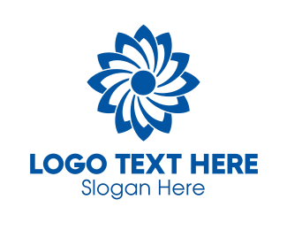 Turbine - Blue Flower logo design