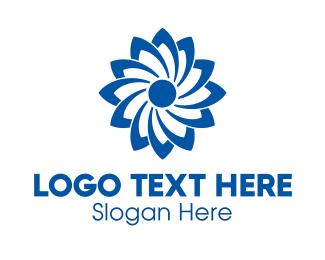 Wind Energy - Blue Flower logo design