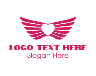 Wing - Pink Winged Heart logo design