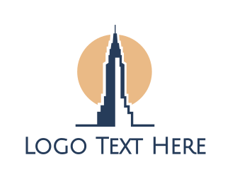 Nyc - Blue Tower Sun logo design