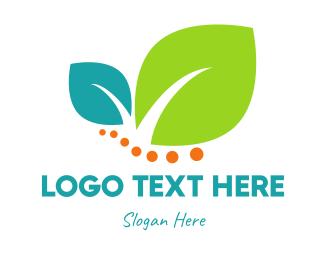 Salad - Leaves & Dots logo design