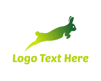 Jumping - Green Rabbit  logo design
