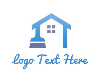 Broom - Blue Home Brush logo design