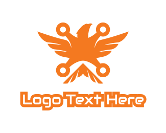 Drone - Orange Drone Eagle logo design
