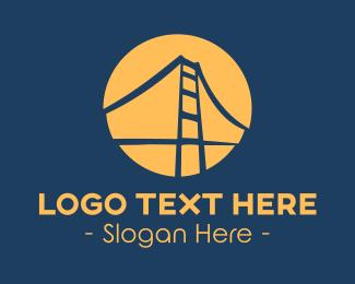 Structure - Blue & Orange Bridge logo design