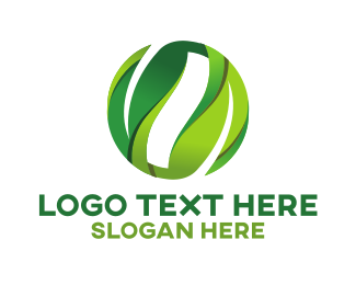 Herbal - Green Leaves Circle logo design