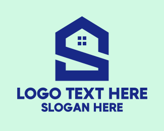 Intial - S Shape Polygon House  logo design