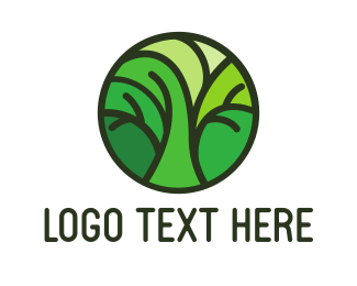 Object - Green Round Tree Pattern logo design