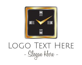 Silver - Square Clock logo design