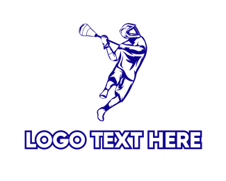 Varsity - Blue Lacrosse Player logo design