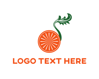 Green And Orange - Orange & Leaf logo design