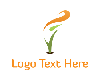 Land - Abstract Orange Flower logo design