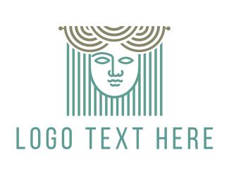 Art School - Curtains & Woman logo design