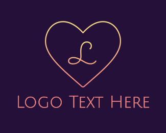 Wedding Planner - Minimalist Gradient Heart logo design