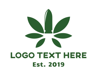 Herb - Green Cannabis Bullet logo design